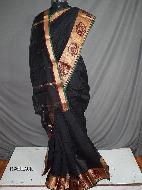 1136 Black Colored Kotta Cotton Saree