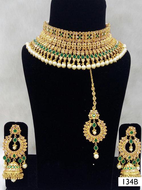 134B Green Bridal Wear Necklace Set With Maang Tika