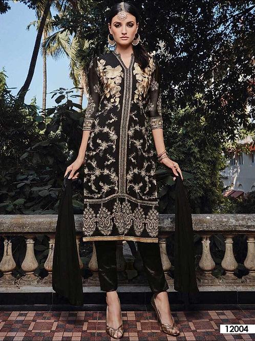 12004Black Party Wear Faux Georgette Pakistani Suit