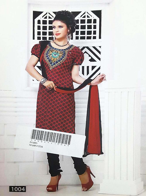 1004 Red Designer Printed Salwar Suit
