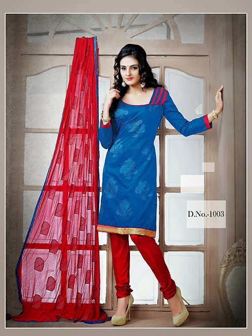 1003 Teal Blue and Red Chudidar Suit
