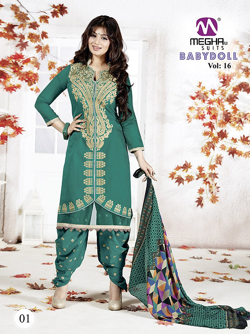1601Sea Green and Golden Cotton Party Wear Patiyala Suit