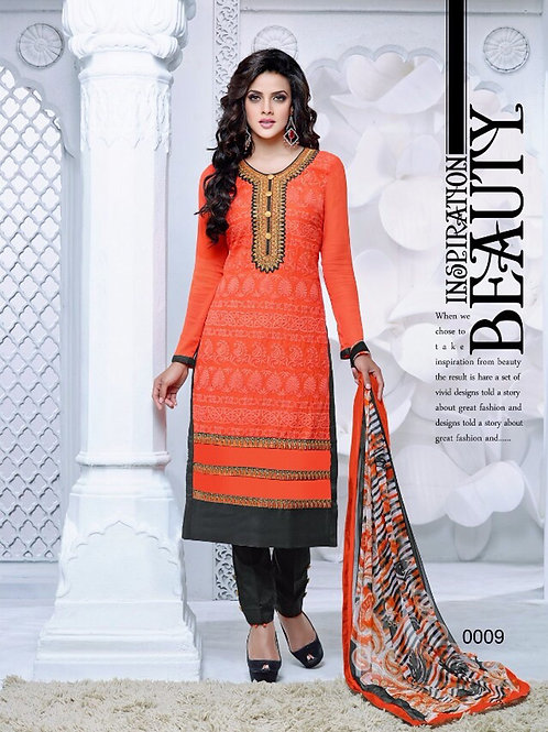 0009 Deep Orange and Black Cambric Cotton Straight Suit