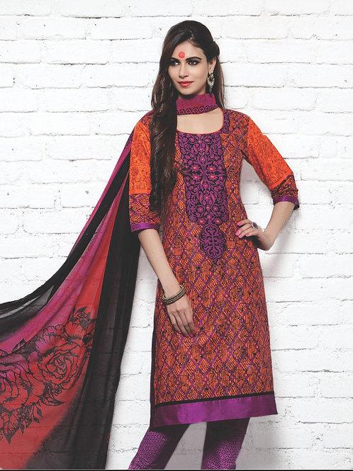19 Purple and Red Cotton Satin Pakistani Suit