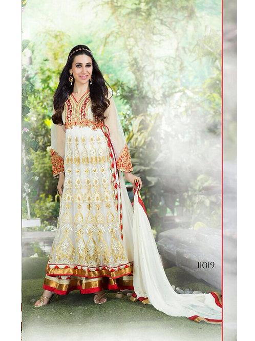 11019Eggshell and Red Anarkali Suit