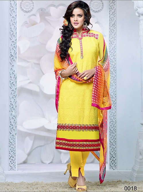 0018 Yellow and Dark Red Cambric Cotton Straight Suit