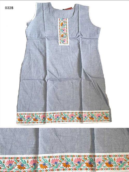 032B Gray Blue Designer Cotton Kurtis