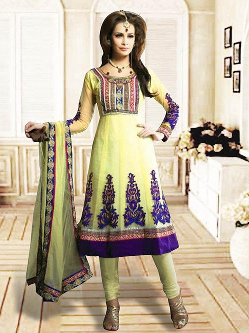1211Light Yellow and Dark Purple Anarkali Suit