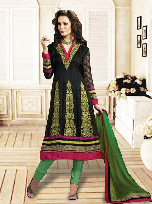 1215Black and Green Anarkali Suit