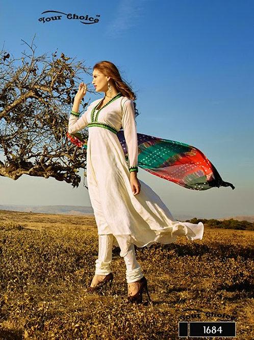 1684 White Chiffon Anarkali Suit
