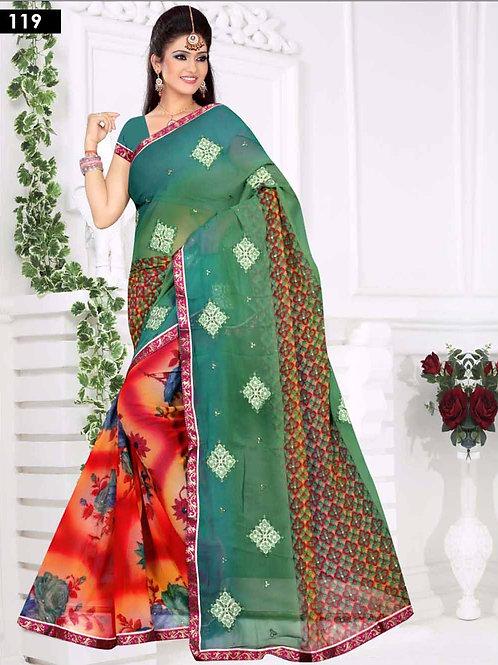 119 Green and Multicolor Designer Saree