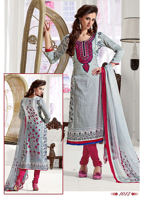 1012Gray and CrimsonRed Daily Wear Satin Cotton Straight Suit