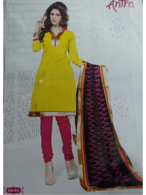 1015Yellow and DeepPink Daily Wear Brasso Salwar Suit