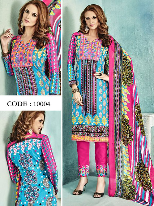 10004Sky Blue and Bright Pink Latest Fancy Salwar Suit