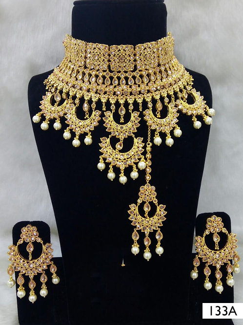 133A Golden Bridal Wear Necklace Set With Maang Tika