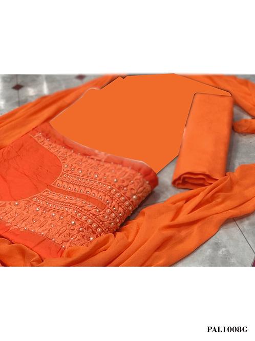 1008G Saffron Designer Unstitched Salwar Suit