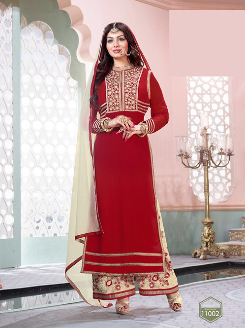 11002Red and OffWhite Party Wear Pure Georgette Designer Suit
