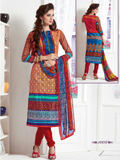 1006Coral and Red Daily Wear Satin Cotton Straight Suit