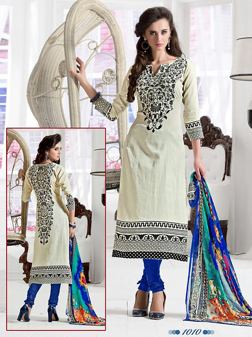 1010White and Blue Daily Wear Satin Cotton Straight Suit