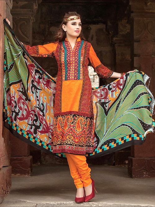 0008Orange and Red Printed Cambric with Neck Work Daily Wear Designer Suit