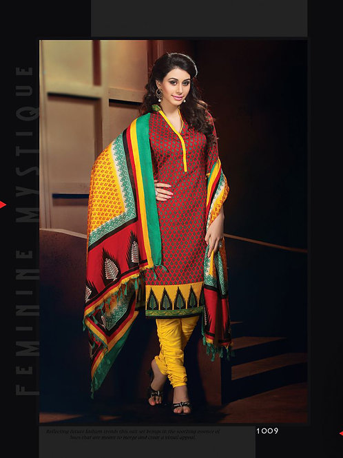 1009brown and Yellow Daily Wear Heavy Banglori Printed Salwar Suit