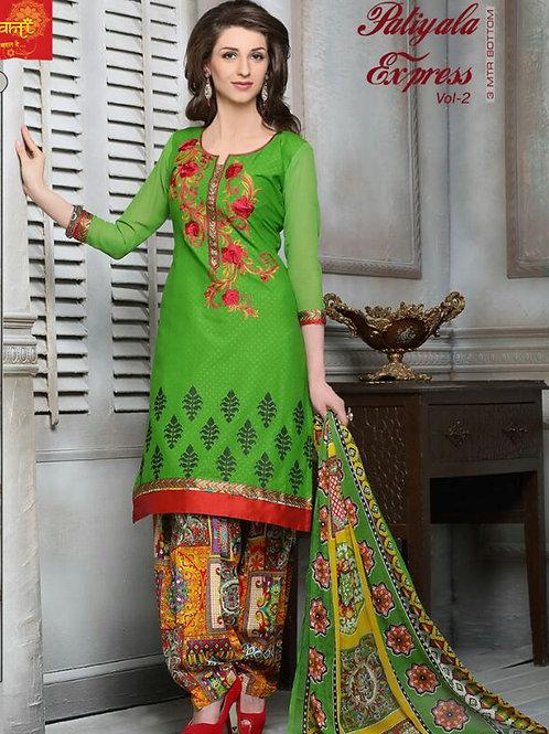 02ParrotGreen and Multicolor Cotton Jacquard Salwar Suit