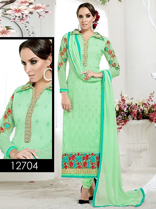 12704Ocean Green Designer Straight Suit