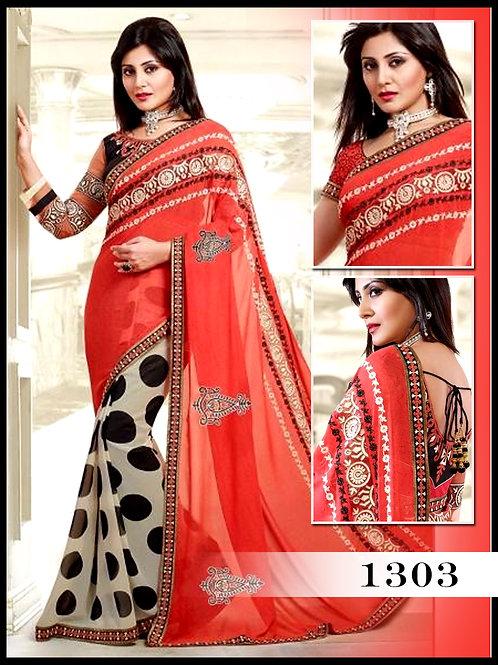 1303Off white and Red Designer Saree