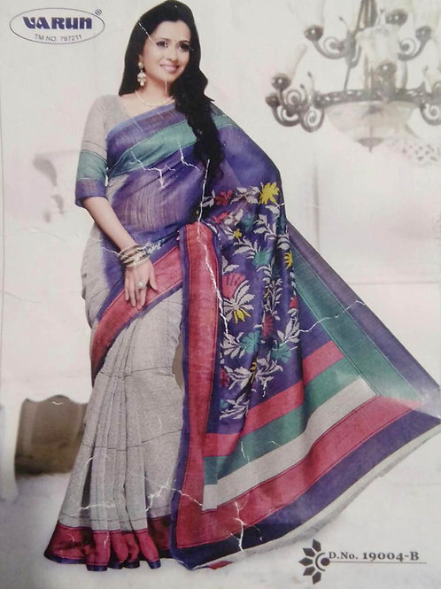 19004B Blue and Beige Daily Wear Cotton Based Saree