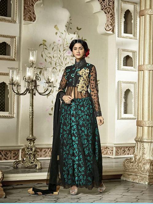 1206 Black and Blue Net Designer Suit