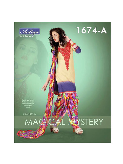 1674ANavajoWhite and Multicolor Patiyala Suit