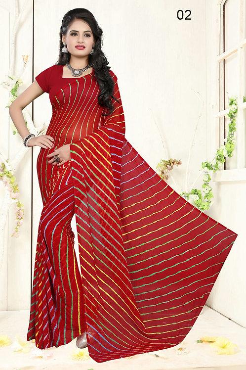 02 Dark Red Exclusive Diamond Chiffon Lahariya Sarees