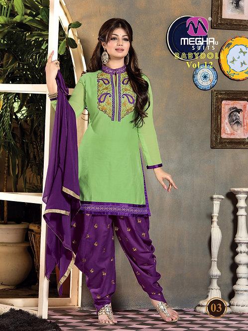 1203LightGreen and Purple Patiyala Suit
