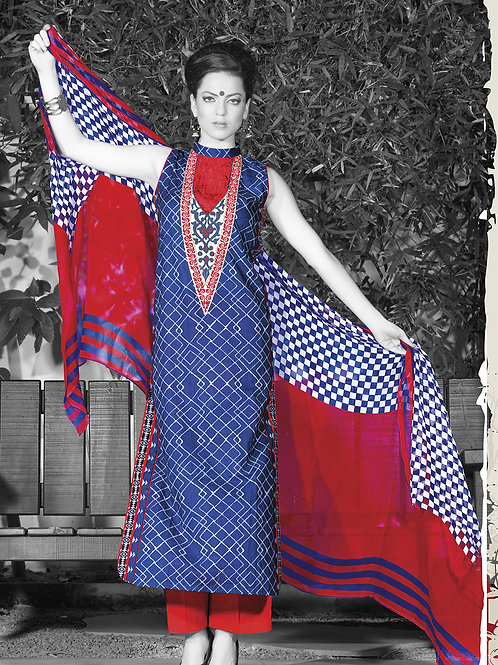0950B Blue Red and White Cotton Palazzo Suit