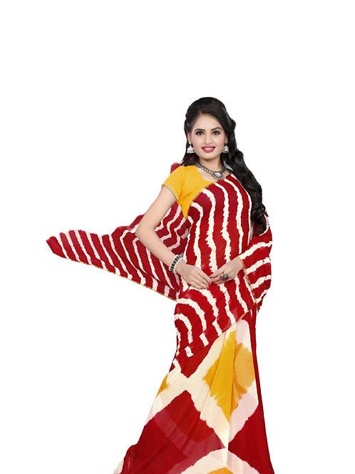 101 Red Exclusive Diamond Chiffon Laheriya Sarees
