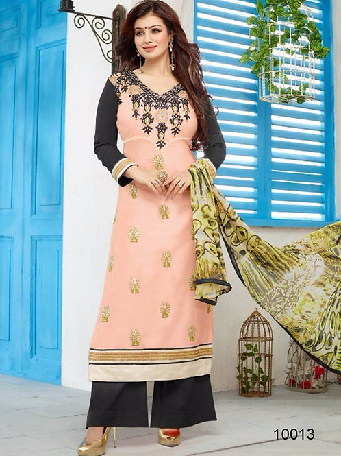 10013 Skin and Black Pure Cambric Cotton Straight Suit
