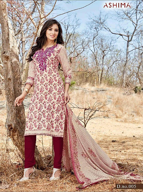 005 Ivory and Maroon Printed Straight Suit