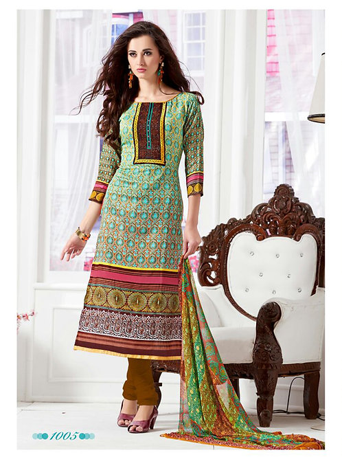1005Multicolor and Brown Daily Wear Satin Cotton Straight Suit