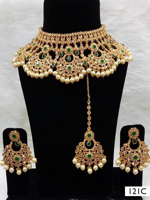 121C Green Bridal Wear Necklace Set With Maang Tika