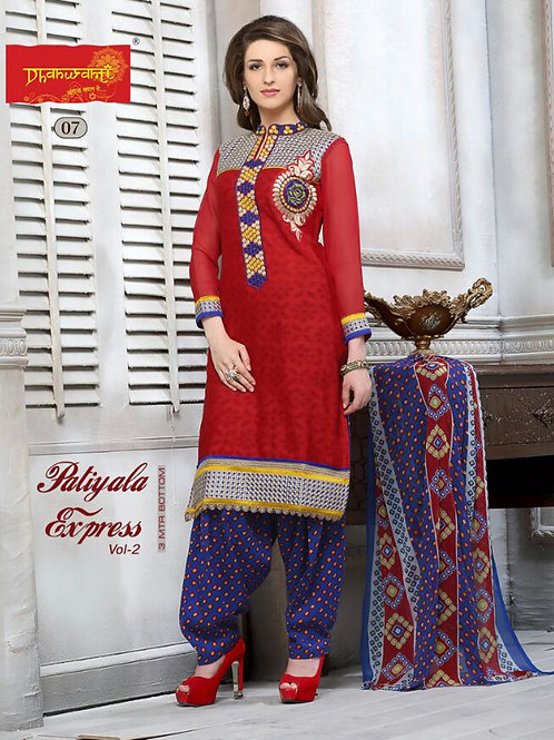 07Red and MidnightBlue Cotton Jacquard Salwar Suit