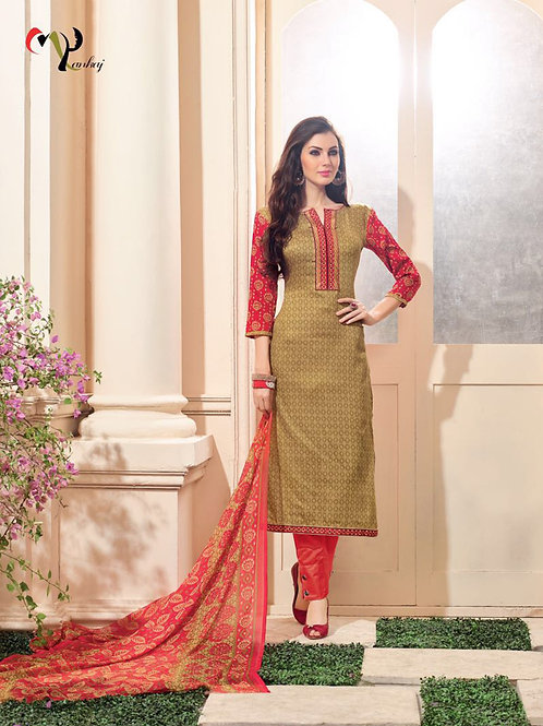 16021SandyBrown and TomatoRed Embroidered Glace Cotton Party Wear Straight Suit