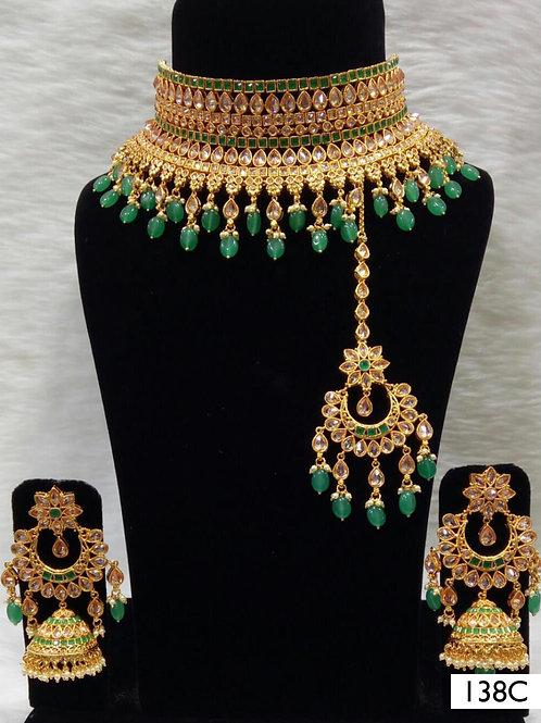 138C Green Bridal Wear Necklace Set With Maang Tika