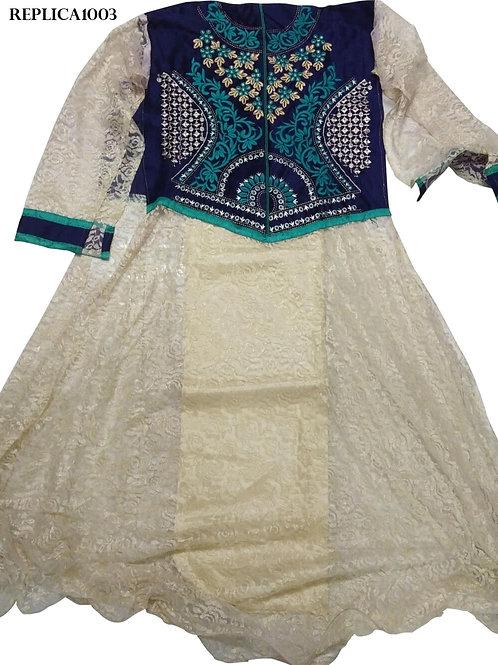 1003 Blue and Offwhite Designer Anarkali Replica Suit