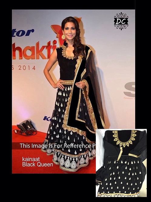 01Black and Golden Party Wear Georgette Lahenga Choli
