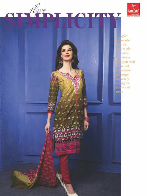 01Yellow and Multicolor Printed Cambric Top Daily Wear Designer Suit
