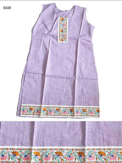 032E Lavender Designer Cotton Kurtis