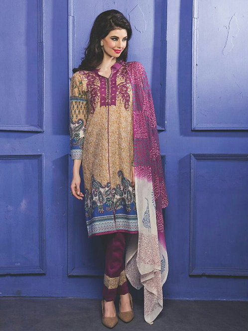 02LightBrown and Magenta Printed Cambric Top Daily Wear Designer Suit
