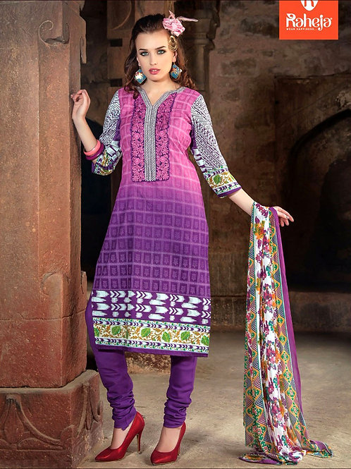 0006Violate and Purple Printed Cambric with Neck Work Daily Wear Designer Suit