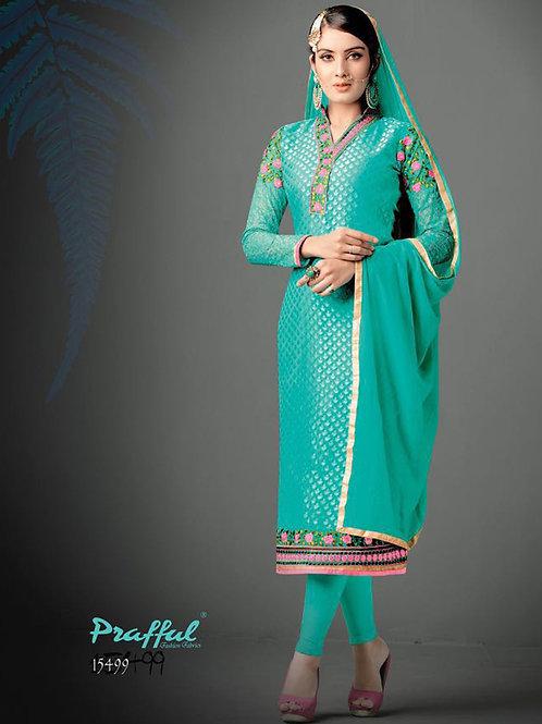 15499Spring Green Designer Function Wear Straight Suit