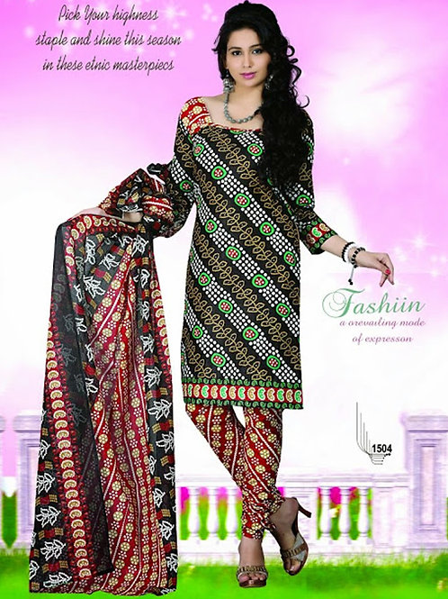 1504 Black and Red Chudidar Suit